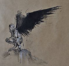 """Guy Denning """"Jophiel waits 9"""", conte and chalk on paper 35 x 35 cm"""