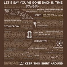This shirt has how-to information on all of the low-hanging fruit of our modern age. Go back in time wearing this and you'll invent heavier-than-air flight! YOU'LL be the first to isolate aluminum. Weird Facts, Fun Facts, Aluminum Uses, Back In Time, Science And Nature, Travel Essentials, Travel Hacks, Travel Tips, Survival Skills