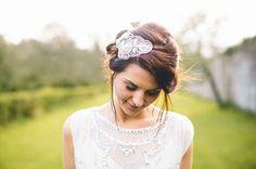Delightful Sarah wearing bespoke Hermione Harbutt Gatsby headdress.