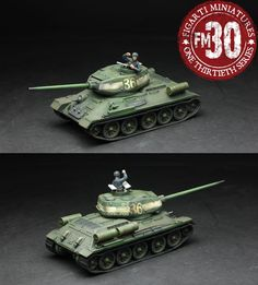 World War II Russian Army EFR-009 T34-85 Tank set - Made by Figarti Military Miniatures and Models. Factory made, hand assembled, painted and boxed in a padded decorative box. Excellent gift for the enthusiast.