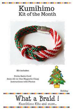 Kumihimo Square Knot Bracelet Kit, Kumihimo Christmas Bracelet, Kumihimo Holiday Bracelet, Kumihimo with Petite Satin Cord