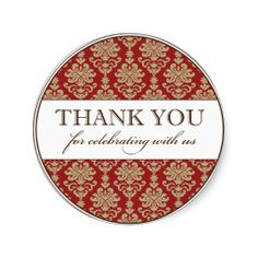 Thank You Favour Sticker | Red Gold Damask