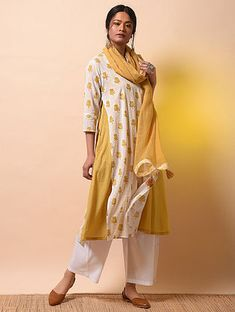 598e5652c SITA DEVI - Ivory-Yellow Khari Block-printed Cotton Mul Layered Kurta