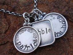Me and Mine Tag Disc Hand Stamped Name Family by ladybughugz, $56.00