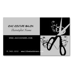 Chic Couture Scissors Swirls Business Card Templates. This great business card design is available for customization. All text style, colors, sizes can be modified to fit your needs. Just click the image to learn more!