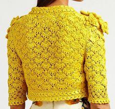 Outstanding Crochet: Crochet Yellow Dress from Oscar de la Renta