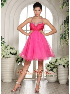 Hot Pink Beaded Spaghetti Straps Halter Prom Dress Knee-length  http://www.fashionos.com  They will roll out the red carpet when you arrive in this gorgeous hot pink short prom dress. An amazing dress for prom or formal features a halter top neckline with the strap encrusted with beadings. Ruching bust area show off your feminine beauty. Make your prom night an evening full of magical memories while you dance the night away in this sparkling evening dress.
