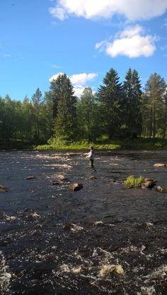 Fishing in the river Korpijoki.