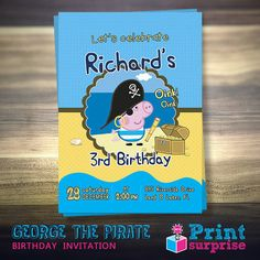George The Pirate Birthday Invitation Peppa Pig by PrintSurprise