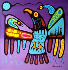 Thunderbird Medicine - A Divine Love between a Father and his 2 Daughters Native American Artwork, American Indian Art, Southwestern Fabric, Aboriginal Art, Aboriginal Education, Woodland Art, Pole Art, Haida Art, Inuit Art