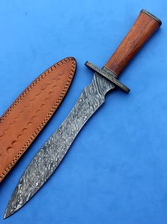 HTK-138 Damascus Knife custom handmade Dagger / Oak by HTKnives