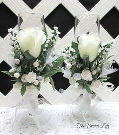 Ivory Bride and Groom Champagne Flutes, Ivory Wedding Glasses, Ivory Toasting Glasses for Ivory Wedding, Hand Decorated Bride and Groom Glasses by Bridal Loft on Etsy **SOLD**