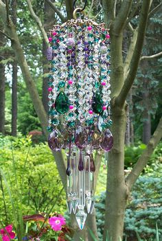 I SO WANT THIS!!  I NEED THIS!  I HAVE TO HAVE THIS~Bohemian Nights Antique Crystal Wind Chime by sheriscrystals, $194.95