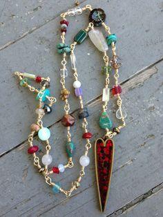 Bohemian Valentine Paved Rhinestone Heart Wire Wrapped Gemstone Chain By SeeJanesBeads by SeeJanesBeads on Etsy