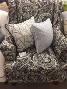 Black And White Paisley Accent Chair