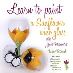 DIY wine glass painting video tutorial how to by JudiPaintedit