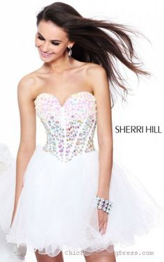 Sherri Hill 21101 Ivory Tulle Homecoming Dress