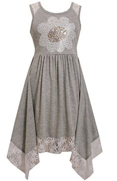 Bonnie Jean Little Girls Grey Daisy Hanky Hem Dress 5 >>> More info could be found at the image url.