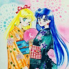 Minako and Rei Sailor Moon Usagi, Sailor Saturn, Sailor Moon Art, Sailor Moon Crystal, Sailor Venus, Manga Art, Anime Art, Hippie Painting, First Animation