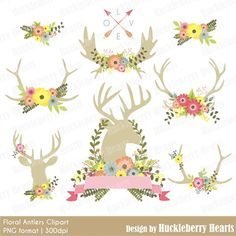 Flowers and Antlers, Antler Clipart, Wedding Clipart, Flower Clipart, Digital Antlers,