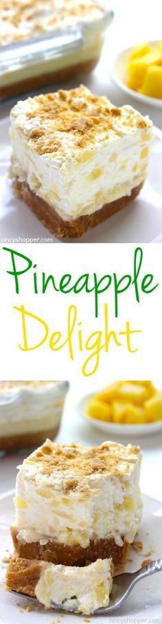 Delight Pineapple Delight- Perfect cold dessert for summer bbqs or potlucks. So refreshing!Pineapple Delight- Perfect cold dessert for summer bbqs or potlucks. So refreshing! Desserts Keto, Brownie Desserts, Cold Desserts, Mini Desserts, Easy Desserts, Delicious Desserts, Desserts For Summer, Summer Deserts, Potluck Desserts
