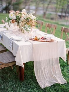 romantic outdoor tablescape, lovely simple tablecloth add a sheer runner( these you could rent or even recycle sailcloth or muslin just whatever... this also a great place to add color and texture. ( just like florals be careful as with the flowers your cost can skyrise so quickly as the same if ypu'll be creative  you could also be very affordable and could be a very important link to your overall concept, or a note in your fishbowl of ideas, depending where you are currently in your…