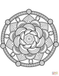 Mandala from free coloring books for adults 7 - Mandalas Coloring Pages for Adults - Just Color Pattern Coloring Pages, Printable Adult Coloring Pages, Mandala Coloring Pages, Animal Coloring Pages, Coloring Pages To Print, Coloring Book Pages, Coloring Pages For Kids, Image Mandala, Mandala Printable