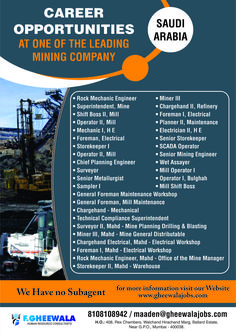 Career Opportunity at one of the Leading Mining Company in Saudi Arabia. Please see the image below for all Opening Positions & Job Details. Please send your updated CV at maaden@gheewalajobs.com  Contact Details: +91-8108108942 F Gheewala Human Resource Consultants  #FGheewala #FgheewalaJobs #JobRecruitment #JobOpportunities