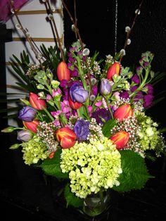 mixture of spring flowers in a vase