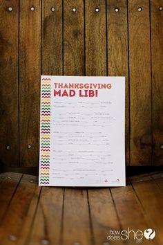 Holidays. Thanksgiving Mad Lib – Exclusive Free Printable!