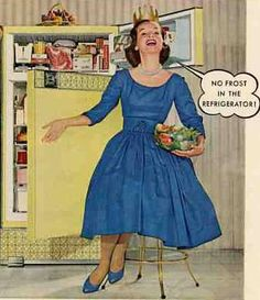 I think we should all park ourselves in front of the refrigerator in heels and sing the joys of no ice in the freezer! Vintage Advertisements, Vintage Ads, Vintage Images, Vintage Antiques, Vintage Housewife, Domestic Goddess, The Good Old Days, Vintage Love, Fall Outfits