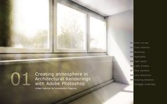 Adobe Photoshop - Creating Atmosphere in Architectural Renderings Tutorial on Vimeo A walk through ten of my favourite render image enhancements in post-production mostly regarding lighting. Perspective Architecture, Texture Architecture, Collage Architecture, Plans Architecture, Architecture Visualization, Architecture Diagrams, Architecture Portfolio, Adobe Photoshop, Photoshop Rendering