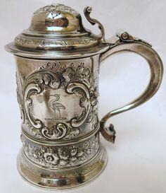 Wonderful Georgian Sterling Silver Repousse Tankard – Priest – London - 1770