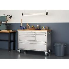 Provide all your garage, workshop, or kitchen storage needs with the addition of this unique TRINITY Stainless Steel Workbench with Storage. Workbench With Storage, Wood Top Workbench, Rolling Workbench, Tool Storage, Storage Drawers, Workbench Ideas, Garage Workbench, Dewalt Storage, Industrial Workbench