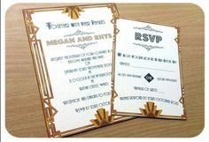 Vintage Art Deco style inspired Wedding Invitation Sample - Any Colour Art Deco Wedding Invitations, Wedding Invitation Samples, Wedding Stationery, Invites, Invitation Ideas, Wedding Pins, Wedding Images, Wedding Trends, Wedding Ideas