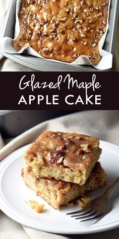 Glazed-Maple Apple Cake - a moist and delicious cake perfect for the fall season, with apples throughout and coated with a maple glaze that tastes like toffee!