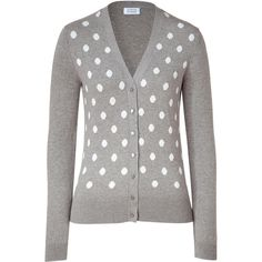 STEFFEN SCHRAUT Platinum/Ivory Dot Cardigan, found on polyvore.com