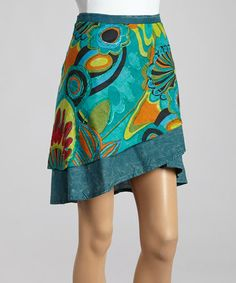 Another great find on #zulily! Teal Floral Wrap Skirt by Jayli #zulilyfinds