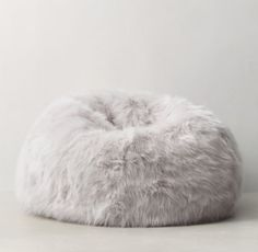 Kashmir Faux Fur Bean Bag - Light Grey