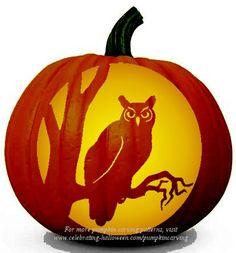 Halloween Owl Stencil – Free Pumpkin Carving Stencil/Pattern