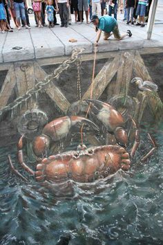 Street Art: Crabs [I'm always stunned by these amazing pieces of art. I've never seen them in real life - I should put it on my bucket list.]