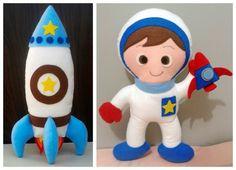 Kit Astronauta e foguete 30cm Felt Crafts, Diy And Crafts, Arts And Crafts, Astronaut Party, Felt Finger Puppets, Felt Banner, Busy Book, Happy Baby, Softies