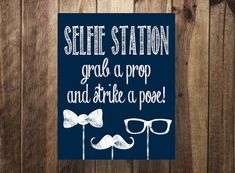 Selfie Station Sign Navy Grab a Prop Strike a by TheDoodleCoop