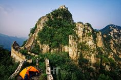 Camping on Jiankou section of the Great Wall of China.