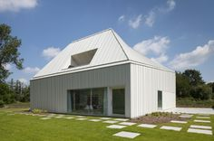 Completed in 2011 in Sint-Katelijne-Waver, Belgium. Images by Frederik Vercruysse. How to build a single house in a wonderful environment of woods, just next to the 'Nete-valley' on a badly orientated site? Residential Architecture, Contemporary Architecture, Interior Architecture, Interior Design, Villa, Contemporary Sheds, Hip Roof, Glass Shower Doors, Design Case