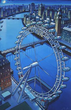 London Eye by Jim Edwards Beautiful London, Illustration, Paintings I Love, London Eye, London Calling, City Art, Contemporary Paintings, Travel Posters, London England