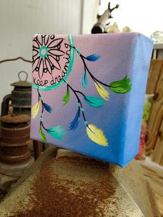 Tiny Pastel Dream Catcher Box Painting. by 2islandtimedesigns