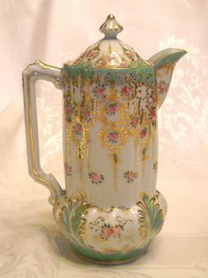 Nippon Hand Painted Porcelain Chocolate Pot Roses Heavy Gold Work