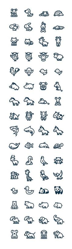 Cute and simple vectorial animal icons.