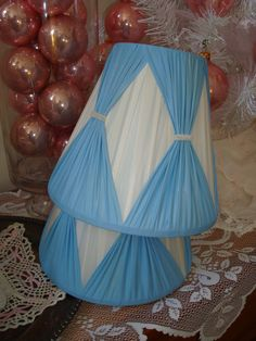 Vintage lampshade set-blue and white-mid century lamp shade-retro lampshades-Marie Antoinette blue-shabby chic.